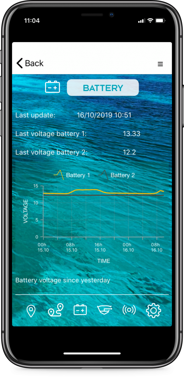connect-it-boat SmartPhone App Batterieüberwachung